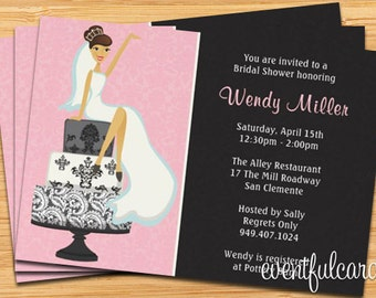 Bridal Shower Invitation  Pink and Black Damask Cake