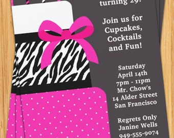 Pink and Black Cake Party Invitation