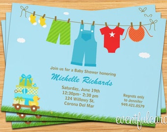 Baby Boy Laundry Baby Shower Invitation