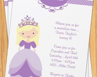 Blonde Princess Birthday Party Invitation - Customizable