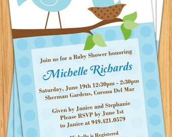 Cute Bird Baby Shower Invitation