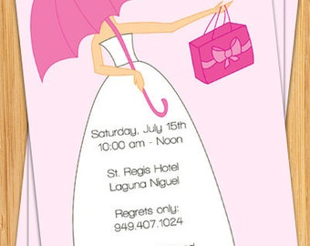 Pink Bridal Shower Invitation - Bride with Umbrella - Fully Customizable