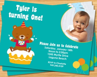 First Birthday Party Invitation with Photo