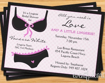 Lingerie Bridal Shower Invitation - Ooh La La
