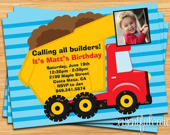 Dump Truck Construction Birthday Party Invitation - Printable or E-card