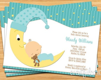 Moon and Stars Printable Baby Shower Invitation