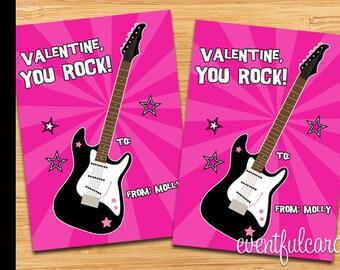 Rock Guitar Kids Valentines Day Cards Printable