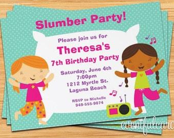 Slumber Party Birthday Invitation for Girls - Printable