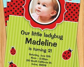 Ladybug Birthday Party Invitation - Kids Red and Black
