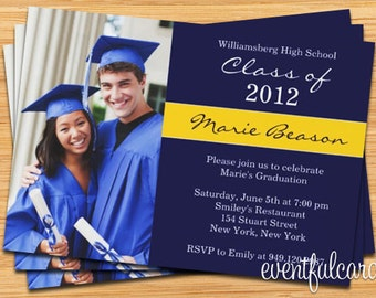 Class of 2017 High School/College Graduation Invitation Photo Card - Print at Home or E-card