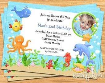 Under the Sea Birthday Party Invitation -  Printable