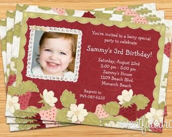 Strawberry Birthday Party Invitations - Printable