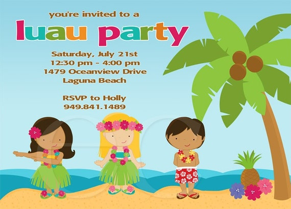 kids luau birthday party invitation package, Party invitations