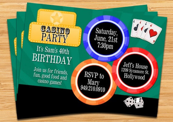 casino party invitation by eventfulcards | catch my party, Party invitations