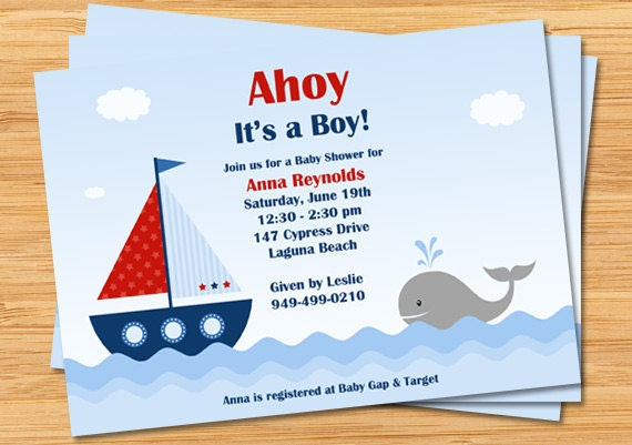 nautical baby shower invitation ahoy it's a boy boat, Baby shower invitations