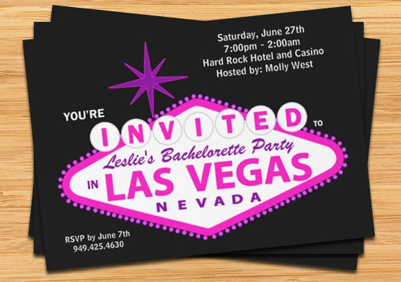 Las Vegas Wedding Invitation Wording: Las Vegas Bachelorette Party Invitation Wedding Invitation