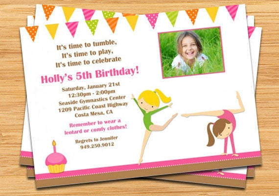 gymnastics birthday party invitations, Birthday invitations