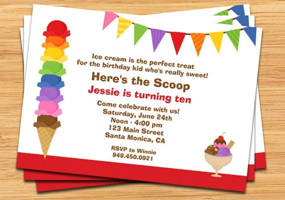 ice cream birthday party invitation, Party invitations