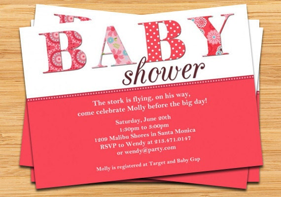 Baby Girl Shower Invitation by eventfulcards on Etsy