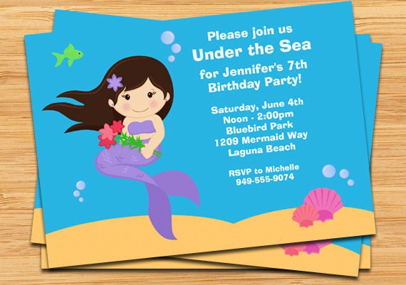 details this cute mermaid birthday party invitation - Under The Sea Party Invitations
