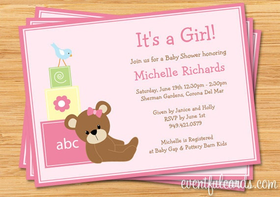 Pink Teddy Bear Baby Shower Invitation Print by eventfulcards