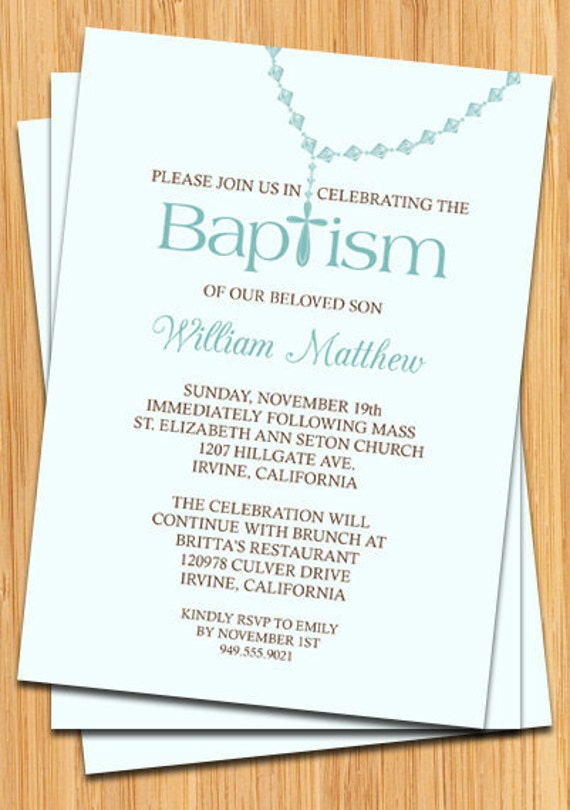 Baby Boy Baptism Invitation