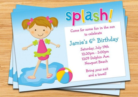 Kids Pool Party Birthday Invitation – Birthday Pool Party Invitation