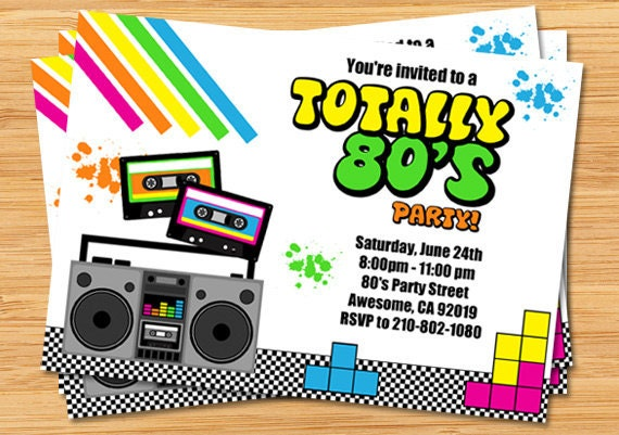 80s Party Birthday Invitation – 80s Theme Party Invitations