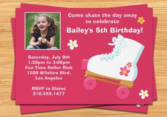 Pink Roller Skating Birthday Party Invitation