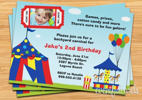 carnival birthday party invitation, Birthday invitations