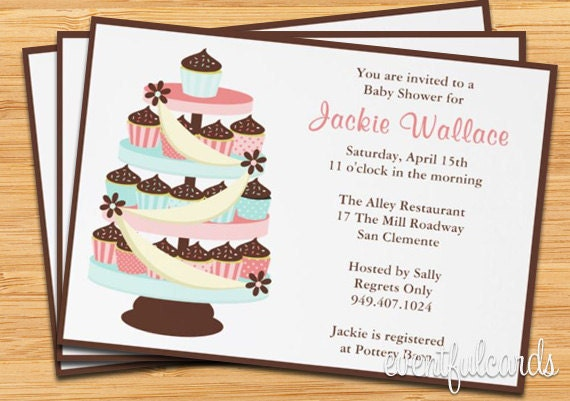 baby shower invitation cupcake tower by eventfulcards on etsy