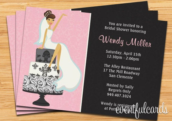 Bridal Shower Invitation Pink And Black Damask Cake By Eventfulcards