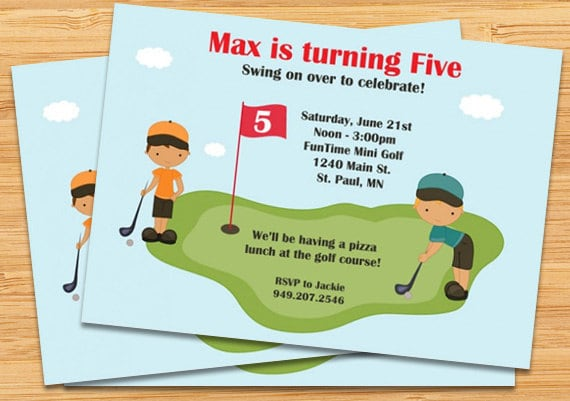 Miniature Golf Birthday Party Invitation Boys