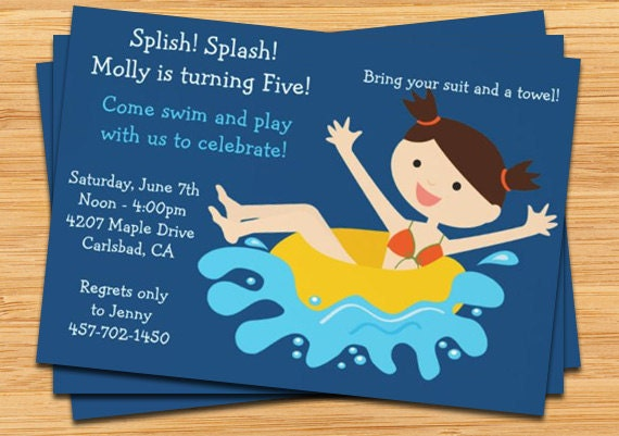 Kids Pool Party Invitation