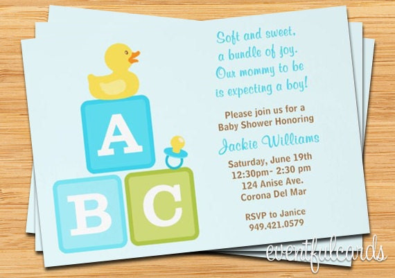 boy baby shower invitation abc blocks duckie and pacifier blue
