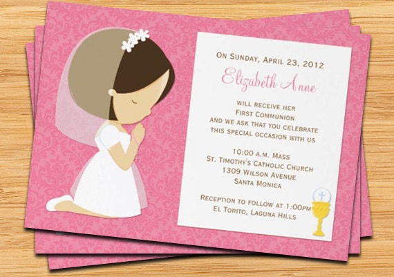 First Communion Invitation for Girl Brown Hair