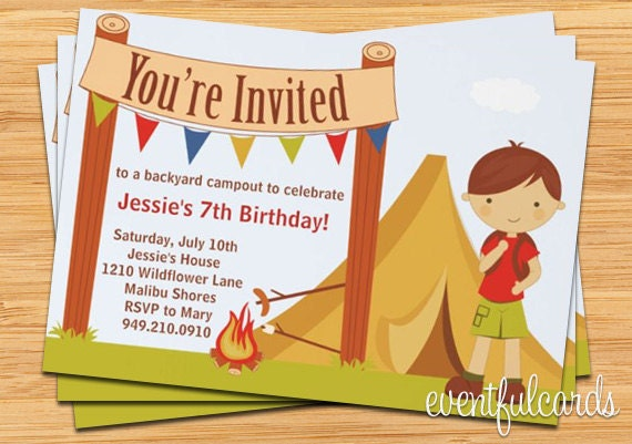 Camping Birthday Party Invitation Fully Customizable