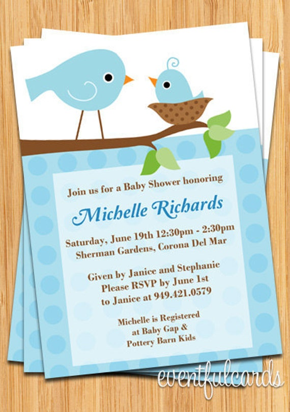 cute bird baby shower invitation by eventfulcards on etsy, Baby shower invitations