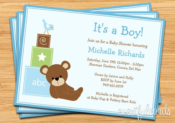 Blue Teddy Bear Baby Shower Invitation Baby Blocks and Bird