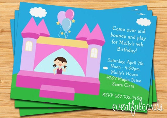 Bounce House Kids Birthday Party Invitation Personalized