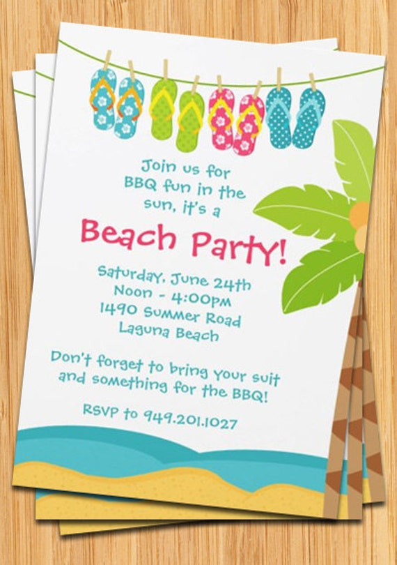 summer beach party invitation, Party invitations