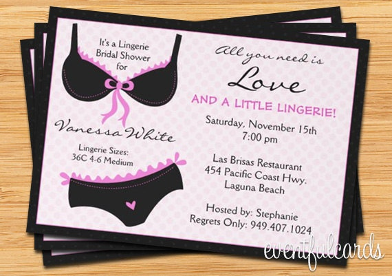Lingerie bridal shower invitation ooh la la for Lingerie invitations