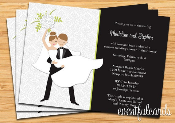 E Card Wedding Invitation: Couple Wedding Shower Invitation Printable Or E-card Or