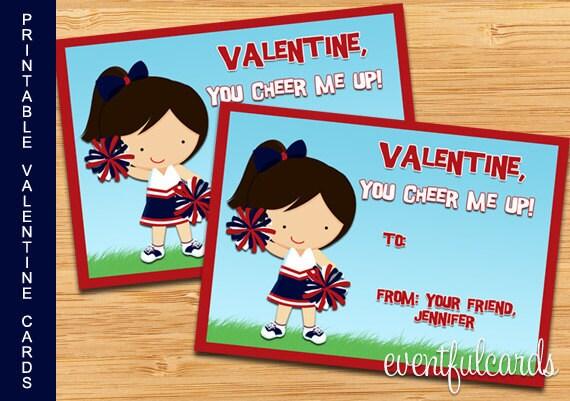 Cheerleader Printable Valentines Day Cards - DIY - Print at Home