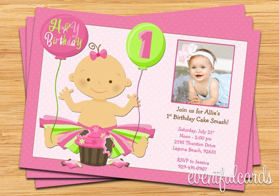 St Birthday Cake Smash Party Invitation Printable DIY - 1st birthday invitation card format marathi