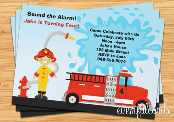 Red Firetruck Birthday Party Invitation Customize with Your – Fire Truck Birthday Invitation