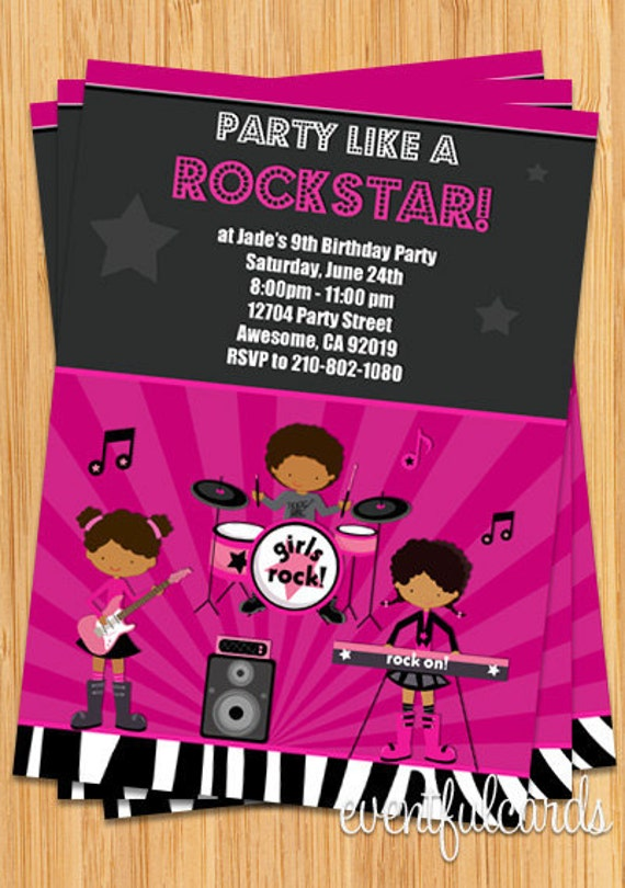 African American Girls Rock Star Birthday Party Invitation by – Rockstar Party Invites