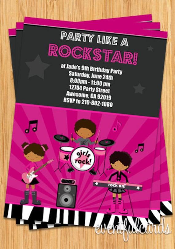 African American Girls Rock Star Birthday Party Invitation – Rock Star Party Invitations