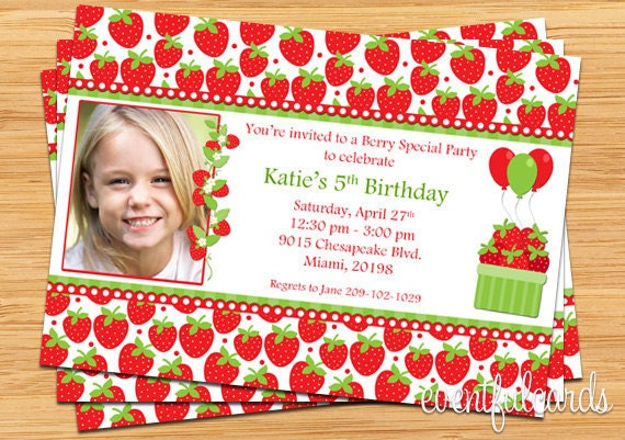 Items Similar To Strawberry Birthday Party Invitations Printable