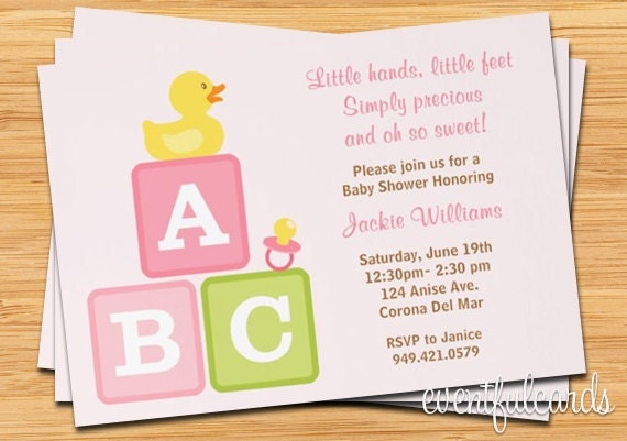 girl baby shower invitation abc blocks duckie and pacifier pink